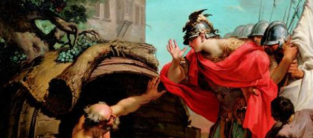 A painting of Diogenes asking Alexander the Great to stand out of his light.