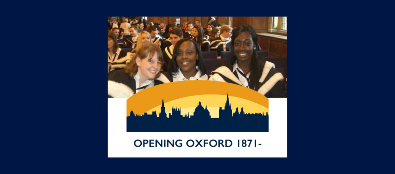 female students with opening oxford logo