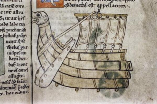 Illustration of the stern end of Viking ship from a 12th-century Treatise on astronomy
