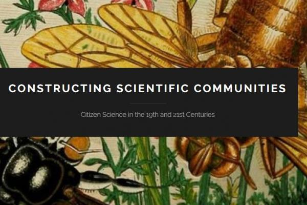 Illustration of insects with Constructing Scientific Communities logo in foreground