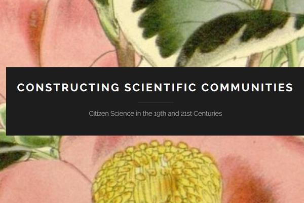 Nature illustration with Constructing Scientific Communities logo in foreground
