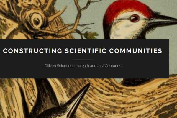 Illustration of birds with Constructing Scientific Communities logo in foreground