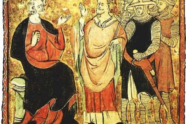 14th-century depiction of Becket with King Henry II