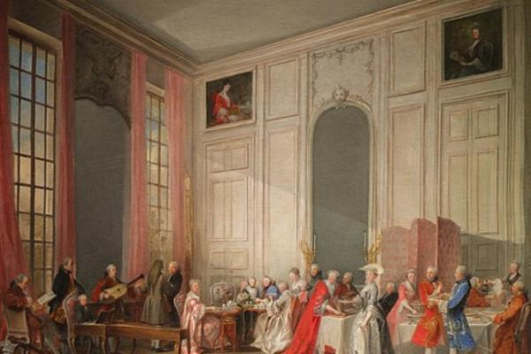 18th century painting of Afternoon Tea at the Temple