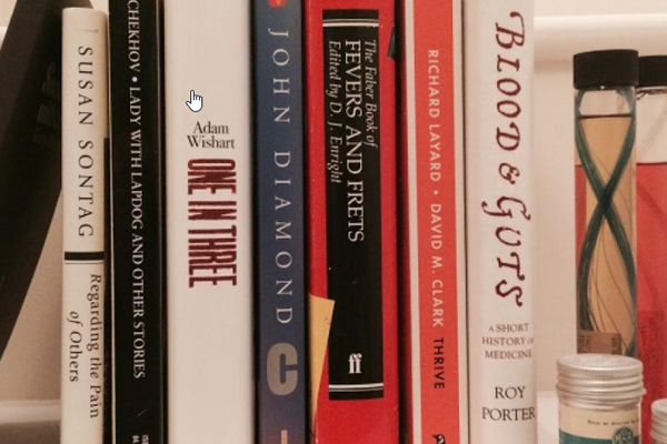 poetry and medical books on shelf