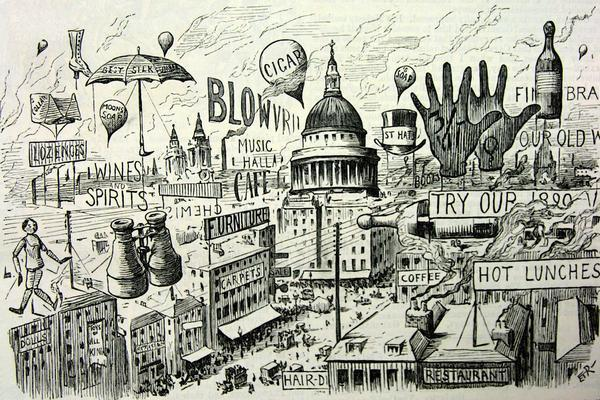 Black and white illustration of a city from Punch Magazine