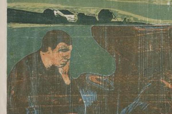 painting of man alone thinking