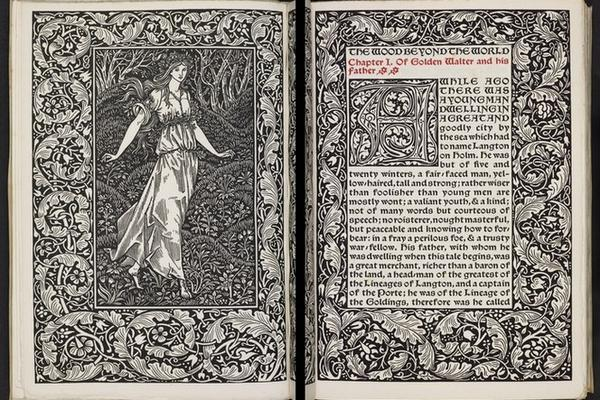 """Frontispiece and opening page of a """"The Wood Beyond the World""""."""