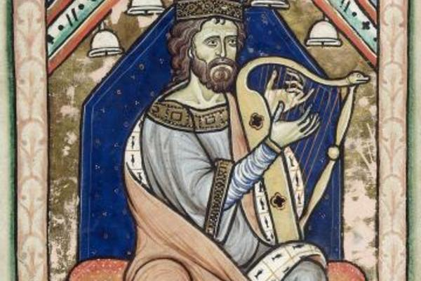King David playing the harp at the beginning of the Psalms