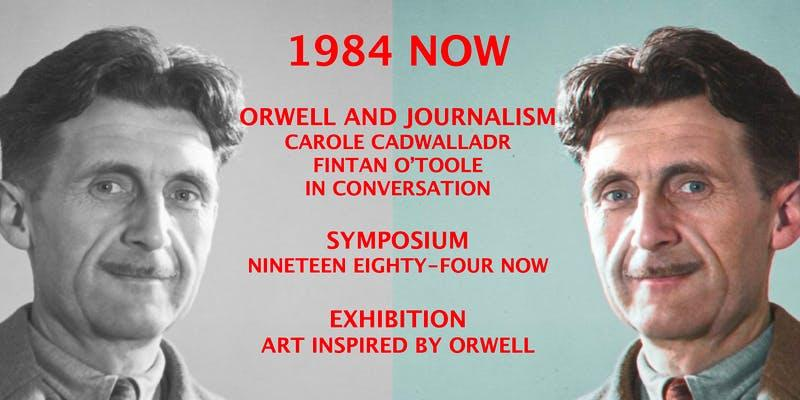 "A black and white photograph of George Orwell reflected in colour and bearing the title ""1984 Now"""