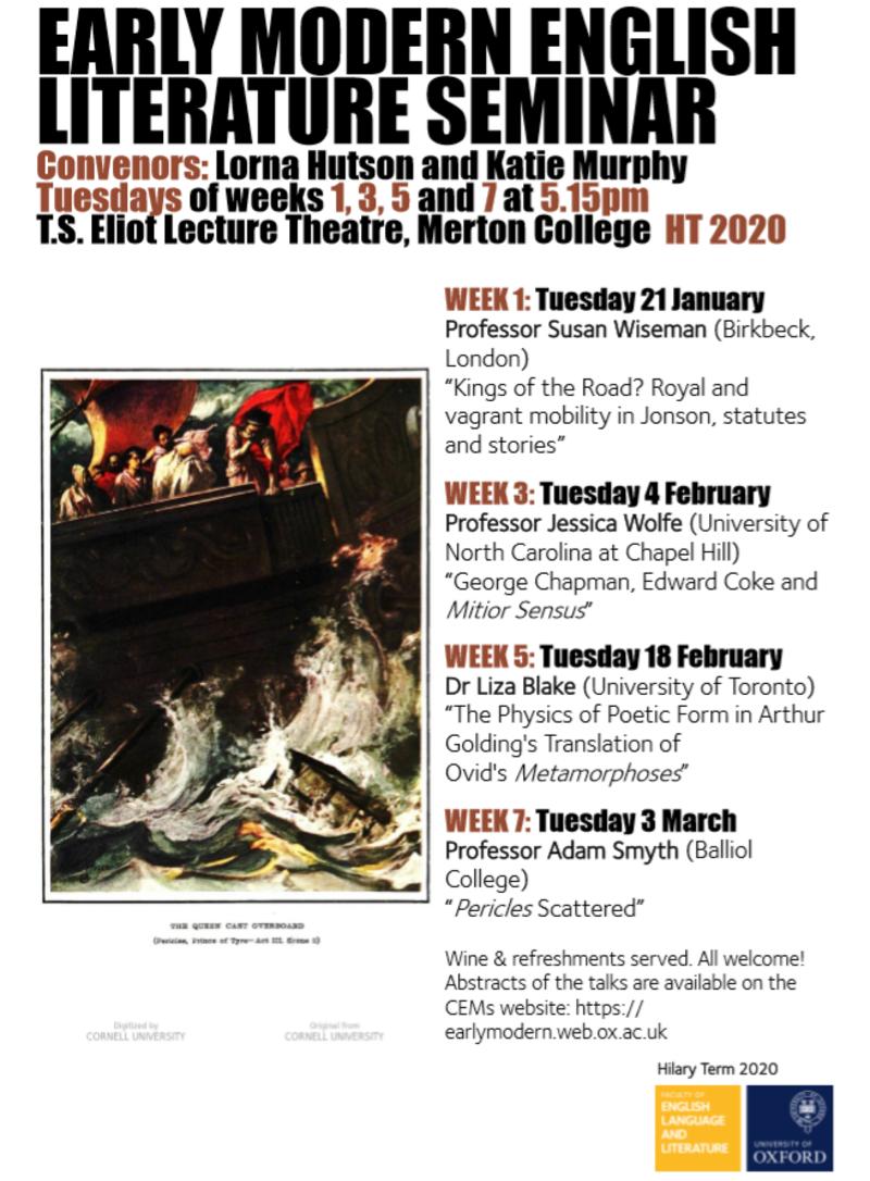 early modern english literature seminar ht20