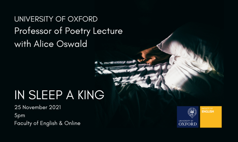 Alice Oswald event poster with image of crumpled bed