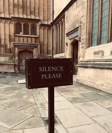 Sign in University saying Silence Please