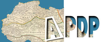 The letters APDP cut out to reveal a map below