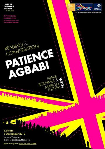 Patience Agbabi poster featuring a stylised British flag in bright pink and yellow against a black background